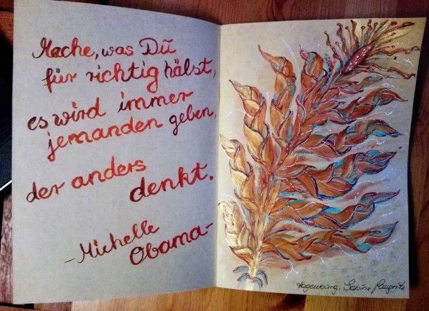 Blätterkunst Spruch Michelle Obama Kraft Papier