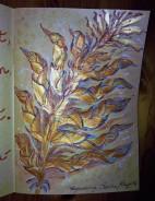 Blätter Zweig Gold braun türkis Kraft Papier