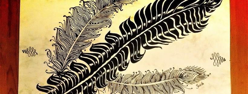 Schreib Federn gemalt