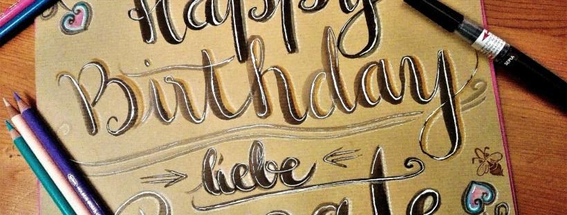 Geburtstaggruß handgeschrieben mit Pinselstiften
